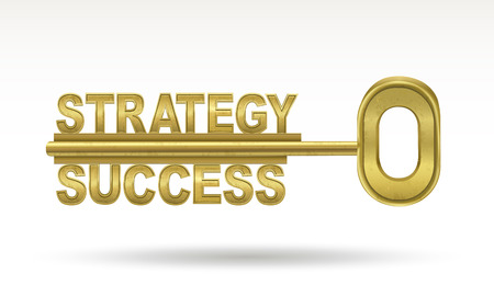strategic position: strategy success - golden key isolated on white background