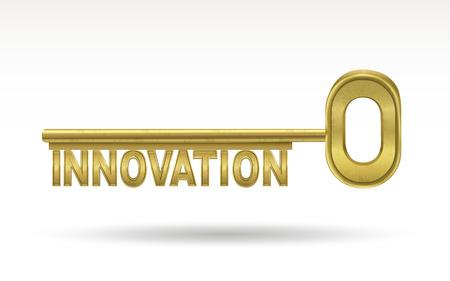 golden key: innovation - golden key isolated on white background Illustration