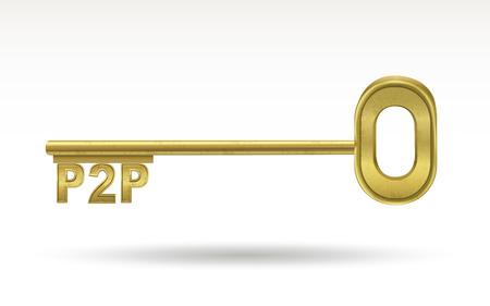 p2p: P2P - golden key isolated on white background