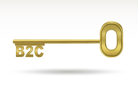 b2c: B2C - golden key isolated on white background