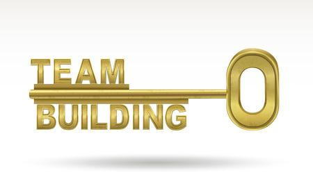 Teambuilding - goldenen Schlüssel isoliert auf weißem Hintergrund