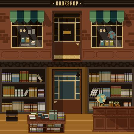 bookstore: retro flat design of bookshop facades and interior scene