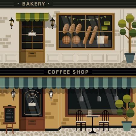커피 숍과 빵집 외관의 복고풍 평면 디자인 일러스트
