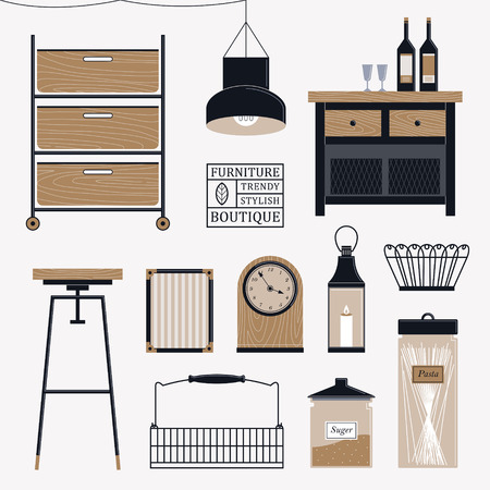 home accessories: stylish wooden furniture set in flat design Illustration