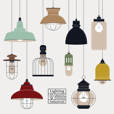 elegant retro ceiling lamps collection in flat design 일러스트