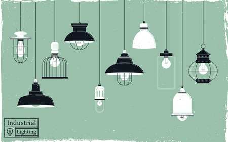 elegant retro ceiling lamps collection in flat design Ilustracja
