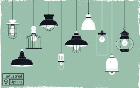 elegant retro ceiling lamps collection in flat design Illustration
