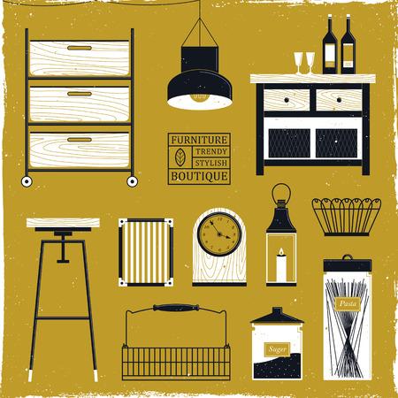 stylish wooden furniture set in flat design Illustration