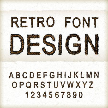 thread count: vintage sewing font design set over beige background