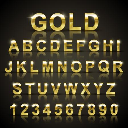 glossy golden font design set over black background Vectores