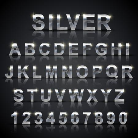 glanzend zilver font design ingesteld op een zwarte achtergrond Stock Illustratie