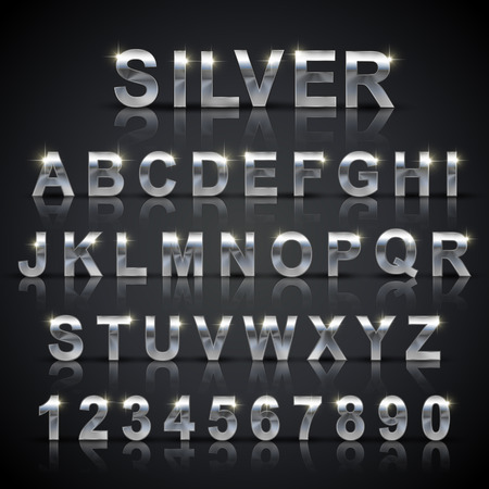 silver metal: glossy silver font design set over black background