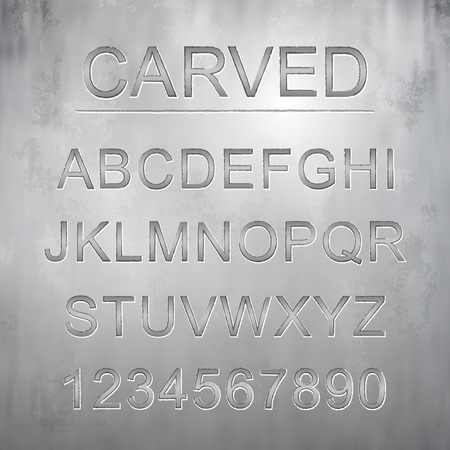 metallic carved font design set over grey background