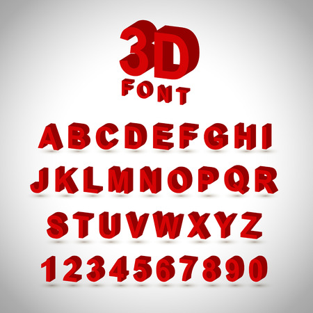 lettres alphabet: Conception de police rouge 3D réglée sur fond gris Illustration