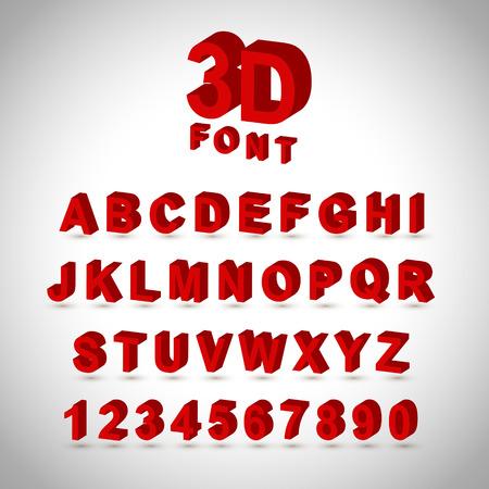 tipos de letras: Dise�o de la fuente de color rojo 3D de conjunto sobre fondo gris