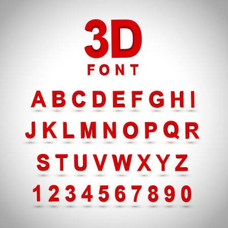 letters of the alphabet: 3D red font design set over grey background