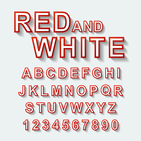 illustrates: red and white font design set over white background
