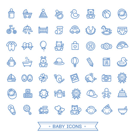 diaper pins: lovely baby related icons collection over white background