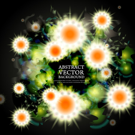lovely attractive background with sparkling flowers over dark Vector