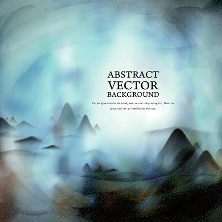 Elegante sfondo del paesaggio cinese tradizionale pittura in blu Archivio Fotografico - 40579014