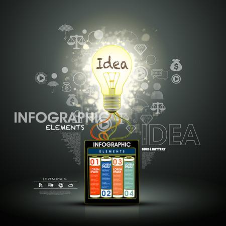 lighting bulb: modern creative infographic elements design with lighting bulb Illustration
