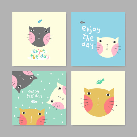 set of adorable greeting cards with lovely cats in different colors Illustration