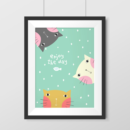 cute doodle: adorable painting with lovely cats hanging on the wall