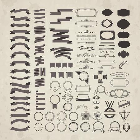 ruban noir: rétro rubans et étiquettes collection isolé sur beige
