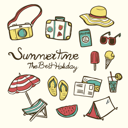 lovely summertime essentials in colorful hand drawn style