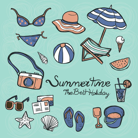 summertime: lovely summertime essentials in colorful hand drawn style