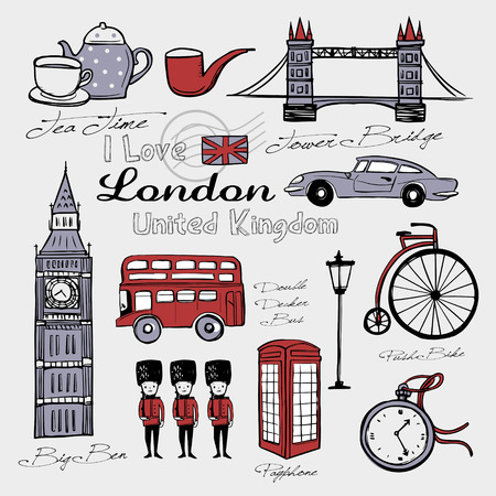 travel concept: United Kingdom famous things and landscapes in hand drawn style