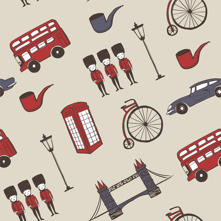 british food: lovely hand drawn travel concept background with landmarks and popular things in England Illustration