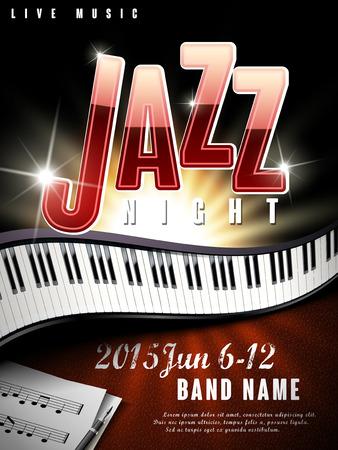 piano: misterio de jazz cartel de la música la noche con efecto brillo y piano