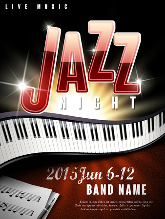 live music: mystery jazz music night poster with glitter effect and piano Illustration