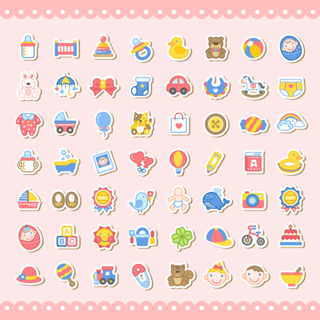 sleeping car: adorable baby related colorful sticker icons set