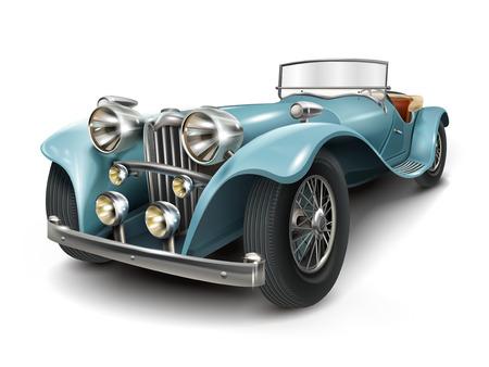 aantrekkelijk retro blauwe auto op een witte achtergrond