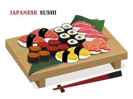 sushi set: amazing delicious sushi set isolated over white background