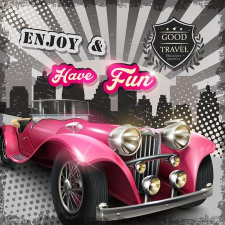 매력적인 핑크 복고 자동차 빈티지 광고 포스터