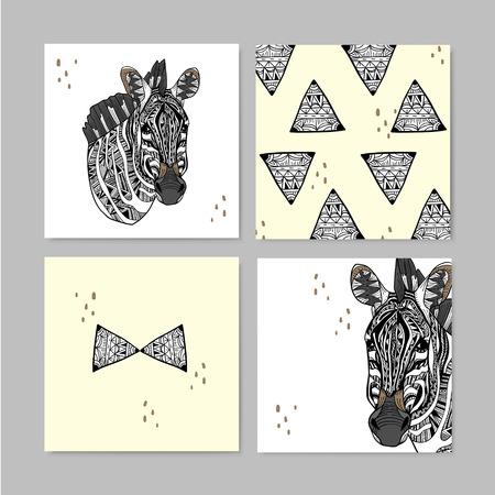 geometric style: modern geometric style zebra memo design set