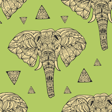 delicate geometric style elephant seamless background with triangle elements Vector