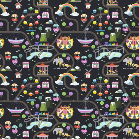 vivid amusement park seamless background in flat design Illustration