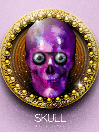 exotica: stunning purple crystal skull cover design with golden plate background