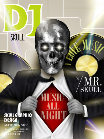 exotica: music magazine cover design with stunning crystal skull businessman