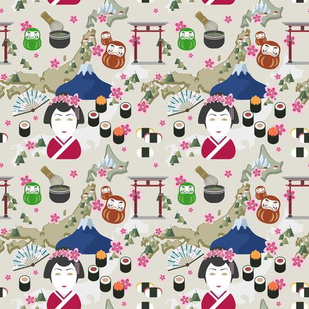 japan culture: elegant flat design seamless pattern with traditional japan culture representative things