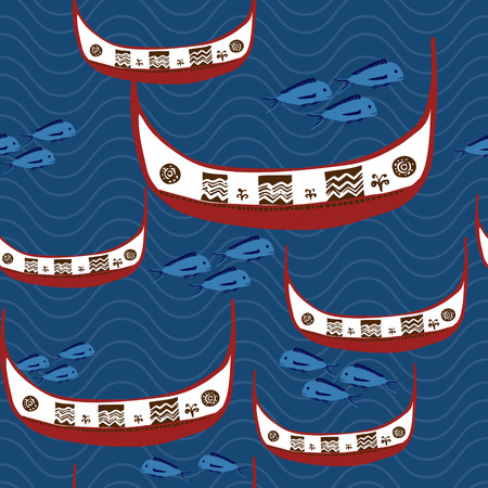 flying fish festival concept: traditional fishing boat of Taiwan aborigines - Tao Vector