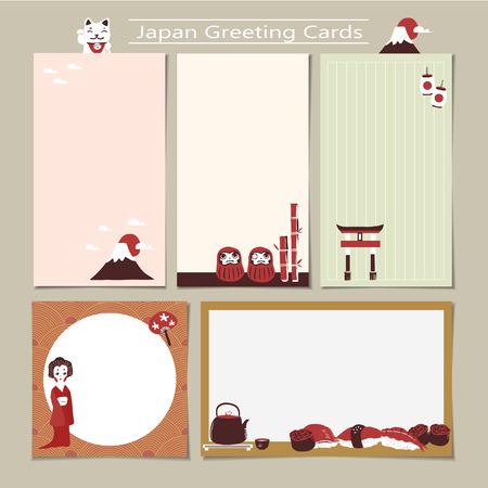 representative: memo set with traditional Japan culture representative things in flat design