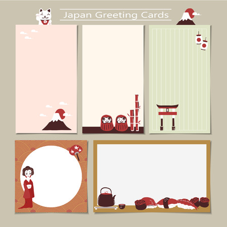travel japan: memo set with traditional Japan culture representative things in flat design