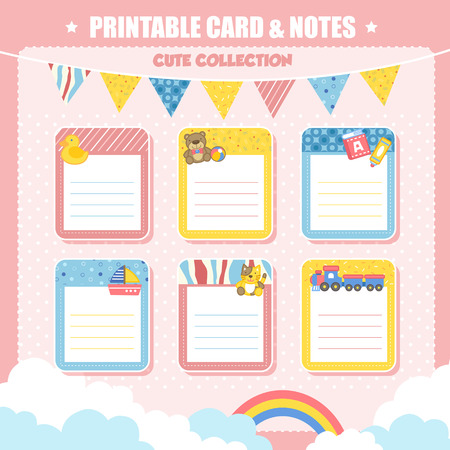 printable: lovely printable card and notes with toy elements in pink