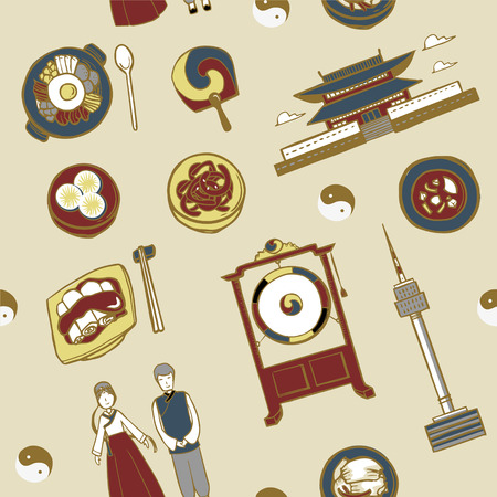 korean food: lovely hand drawn travel concept background with landmarks and popular things in Korea