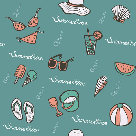 summertime: lovely summertime hand drawn beach essentials such as sunglasses and flip flops Illustration